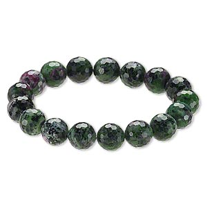 bracelet, stretch, ruby in zoisite (natural), 11-12mm faceted round, 8 inches. sold individually.