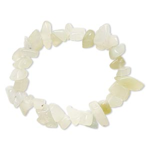 bracelet, stretch, sea green quartz (natural), extra-large chip, 6 inches. sold individually.