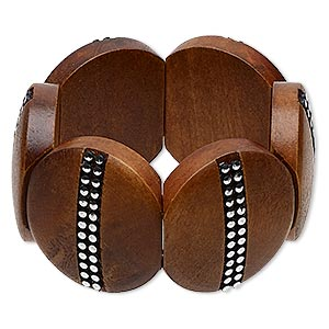 bracelet, stretch, stained wood and silver-coated plastic, light brown, 40mm round, 6-1/2 inches. sold individually.
