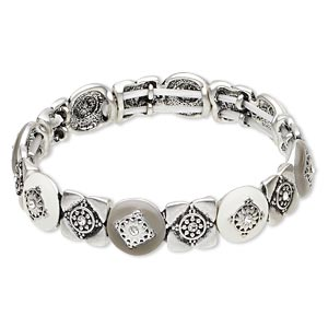 bracelet, stretch, swarovski crystals / epoxy / antique silver-finished pewter (zinc-based alloy), crystal clear / white / grey, 13mm wide with diamond design, 7 inches. sold individually.