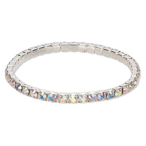 bracelet, stretch, swarovski crystals and rhodium-plated brass, crystal ab, 4mm wide, 7 inches. sold individually.