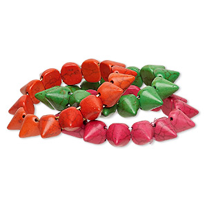 bracelet, stretch, turquoise (imitation), pink / orange / green, 14mm spike, 7 inches. sold per pkg of 3.