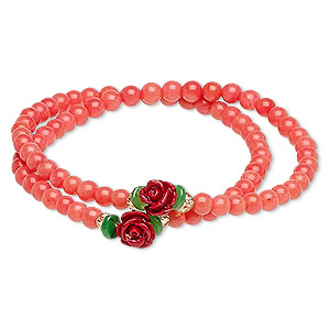 bracelet, stretch wrap, bamboo coral (dyed) / glass / resin, multicolored, 8mm rose, 7 inches. sold individually.