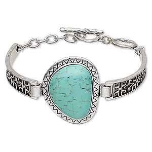 bracelet, turquoise (imitation) with antique silver-plated steel and pewter (zinc-based alloy), blue, 35mm wide with 35x32x26mm triangle, 6 to 6-1/2 inches with toggle clasp. sold individually.