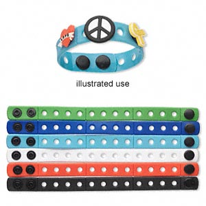 bracelet, vinyl and rubber, assorted colors, 15mm wide, adjustable from 6-7 inches with snap closure. sold per pkg of 6. minimum 5 per order.