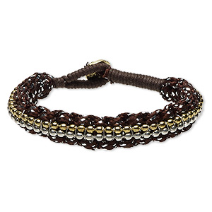 bracelet, waxed cotton cord / nylon / gold-finished pewter (zinc-based alloy) / steel / silver-plated steel, brown, 11mm wide, 6-1/2 inches with button clasp. sold individually.