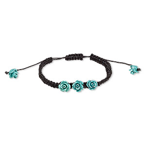 bracelet, waxed cotton cord and resin, black and turquoise blue, 10mm rose, adjustable from 6-1/2 to 10 inches with macrame knot closure. sold individually.