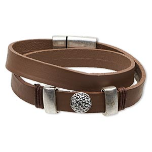 bracelet, wrap, czech glass rhinestone / leather (dyed) / antique silver-finished pewter (zinc-based alloy), brown and smoke, 10mm wide, 7-1/2 inches with 23x14mm magnetic clasp. sold individually.