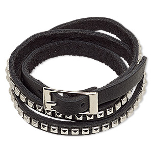 bracelet, wrap, leather (dyed) with imitation rhodium-plated steel and pewter (zinc-based alloy), black, 10mm wide with rectangle studs, adjustable from 6-1/2 to 7 inches with buckle-style closure. sold individually.