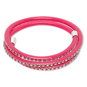 bracelet, wrap, pvc plastic / glass rhinestone / silver-finished brass, dark pink and clear, 4mm wide with cupchain, adjustable from 7-9 inches. sold individually.