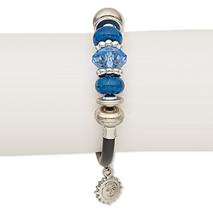 bracelet, wrap, resin / acrylic / imitation leather / silver-coated plastic / silver-plated steel, black and blue, 15mm wide, 7-1/2 inches. sold individually.