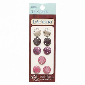 brad, laliberi™, steel / satin / acrylic, assorted colors, 16mm round. sold per pkg of 9.