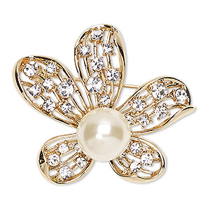 brooch, glass rhinestone / glass pearl / gold-finished pewter (zinc-based alloy), white and clear, 43x37mm flower. sold individually.