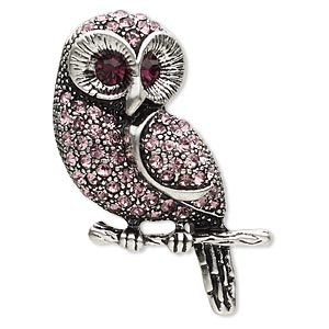 brooch, glass rhinestone and antique silver-plated pewter (zinc-based alloy), lavender and purple, 42x26mm owl. sold individually.