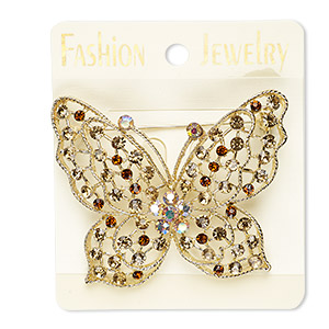 brooch, glass rhinestone and gold-finished pewter (zinc-based alloy), yellow ab / brown / light brown, 64x64mm butterfly. sold individually.