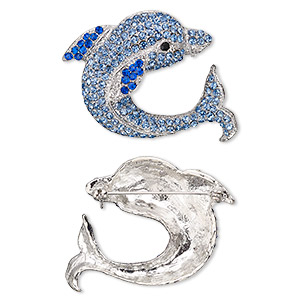 brooch, glass rhinestone and imitation rhodium-plated pewter (zinc-based alloy), blue / light blue / black, 43x42mm dolphin. sold individually.
