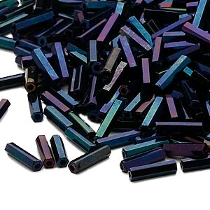 bugle bead, dyna-mites™, glass, opaque iris blue, #3 hex 2-cut. sold per 1/2 kilogram pkg.