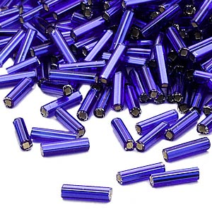 bugle bead, dyna-mites™, glass, silver-lined transparent cobalt, #3 square hole. sold per 1/2 kilogram pkg.