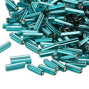 bugle bead, dyna-mites™, glass, silver-lined transparent teal, #3 square hole. sold per 35-gram pkg.