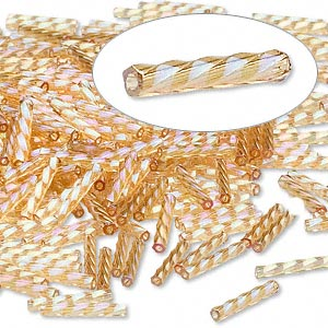 bugle bead, dyna-mites™, glass, transparent rainbow gold, 12mm twisted. sold per 50-gram pkg.