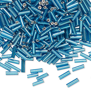 bugle bead, glass, opaque peacock blue, #3 round tube. sold per 16-gram vial.