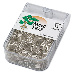 bugle bead, ming tree™, glass, silver-lined translucent clear, 1/4 inch. sold per 1/4 pound pkg.