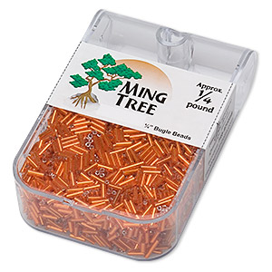 bugle bead, ming tree™, glass, silver-lined translucent dark orange, 1/4 inch. sold per 1/4 pound pkg.