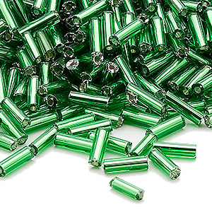 bugle bead, ming tree™, glass, silver-lined translucent emerald green, 1/4 inch. sold per 1-pound pkg.