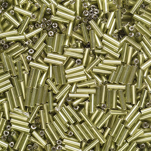bugle bead, ming tree™, glass, silver-lined translucent lime green, 1/4 inch. sold per 1-pound pkg.