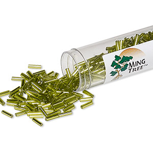 bugle bead, ming tree™, glass, silver-lined translucent lime green, 1/4 inch. sold per 4 x 3/4 inch vial.