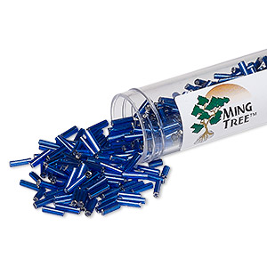 bugle bead, ming tree™, glass, silver-lined translucent navy blue, 1/4 inch. sold per 4 x 3/4 inch vial.