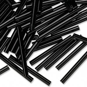 bugle bead, preciosa, czech glass, opaque black, 1 inch. sold per 50-gram pkg.