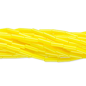 bugle bead, preciosa, czech glass, opaque lemon yellow, #3. sold per 1/2 kilogram pkg.
