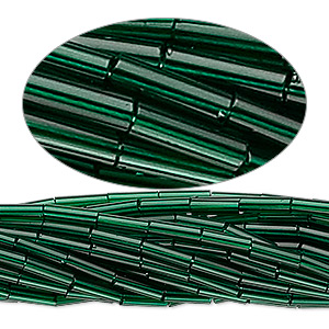bugle bead, preciosa, czech glass, transparent dark green, #3. sold per hank.