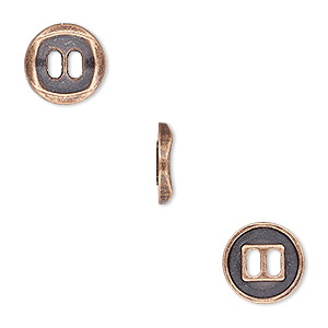 button, antique copper-plated pewter (zinc-based alloy), 11mm single-sided concave flat round. sold per pkg of 50.