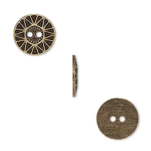 button, antiqued brass-finished pewter (zinc-based alloy), 12.5mm single-sided flat round with sunburst design. sold per pkg of 50.