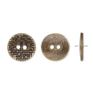 button, antiqued brass-finished pewter (zinc-based alloy), 15mm single-sided flat round with geometric design. sold per pkg of 20.