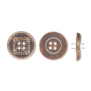 button, antiqued copper-finished pewter (zinc-based alloy), 15mm single-sided wavy flat round with textured square design. sold per pkg of 20.