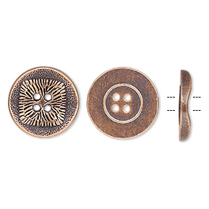 button, antiqued copper-finished pewter (zinc-based alloy), 21mm single-sided wavy flat round with textured square design. sold per pkg of 20.
