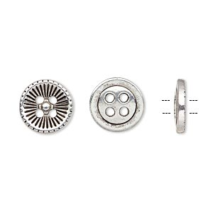 button, antiqued silver-finished pewter (zinc-based alloy), 11.5mm single-sided corrugated round. sold per pkg of 50.