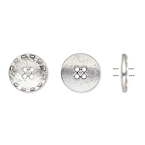 button, antiqued silver-finished pewter (zinc-based alloy), 12mm single-sided flat round with stitched edge. sold per pkg of 50.