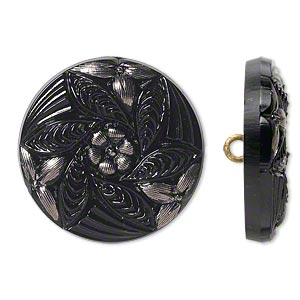 button, czech glass and brass, black and silver, 27mm round with flower design. sold individually.