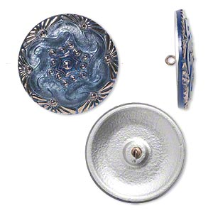 button, czech glass and brass, blue and silver, 41mm round with floral design. sold individually.