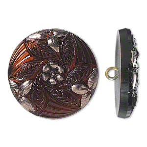 button, czech glass and brass, brown and silver, 27mm round with flower design. sold individually.