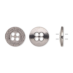button, gunmetal-finished pewter (zinc-based alloy), 12mm single-sided flat round with greek key design. sold per pkg of 50.