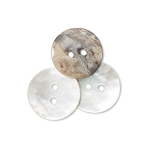 button, mussel shell (natural), 15mm round, mohs hardness 3-1/2. sold per pkg of 50.