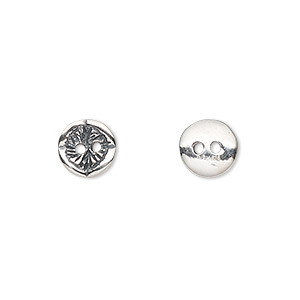 button, sterling silver, 8.5mm single-sided textured flat round. sold per pkg of 2.