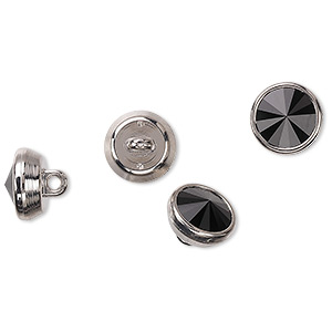 button, swarovski crystals and acrylic, jet and silver, 10mm round. sold per pkg of 4.