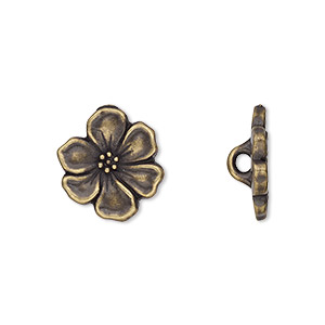 button, tierracast, antique brass-plated pewter (tin-based alloy), 15x14mm flower with hidden closed loop. sold per pkg of 2.