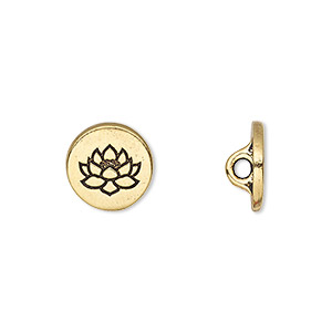 button, tierracast, antique gold-plated pewter (tin-based alloy), 12mm flat round with lotus and hidden loop. sold individually.